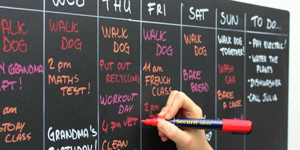 5. Organise your week on a magnetic board
